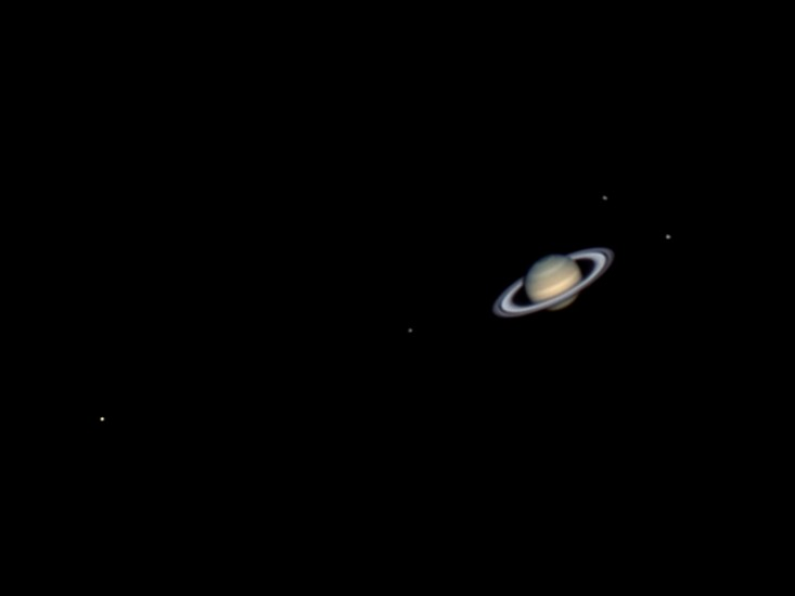 photo of Saturn and four of its moons back in 2013
