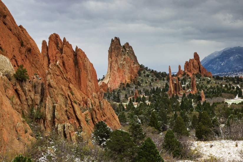 photo of Garden of the Gods on a snowy day in May