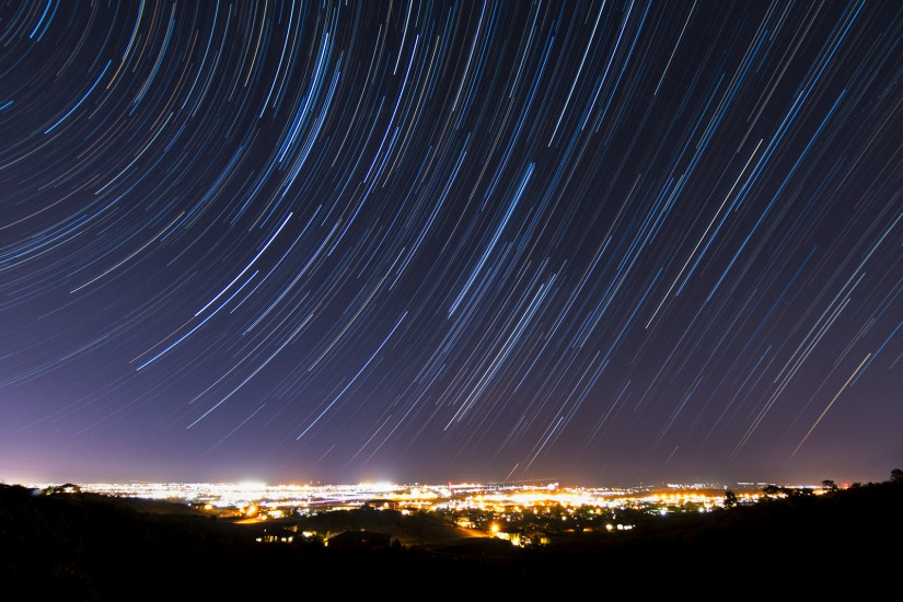photo of star trails over Colorado Springs
