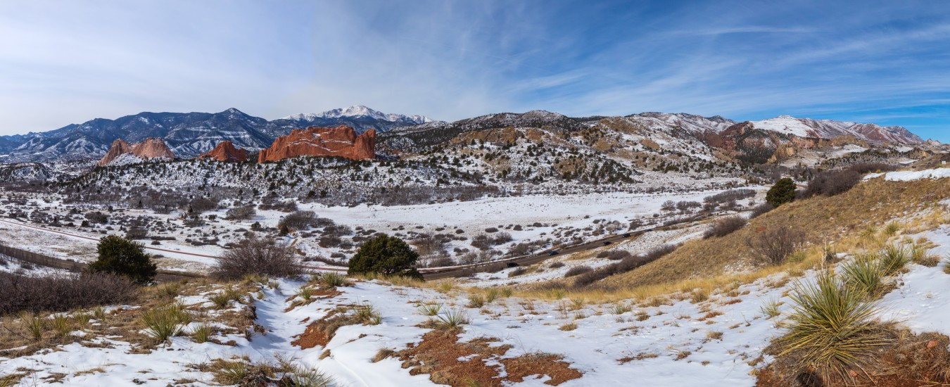 panoramic photo of Pikes Peak and Garden of the Gods