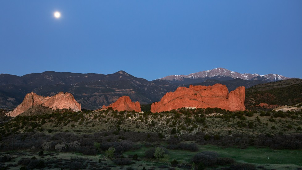 photo of Pikes Peak, Garden of the Gods, and the moon