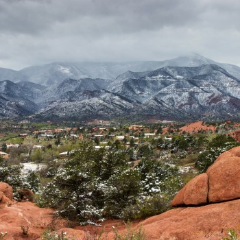 photo of a snowy Garden of the Gods Park