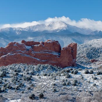 photo of Pikes Peak and Garden of the Gods after a snowstorm