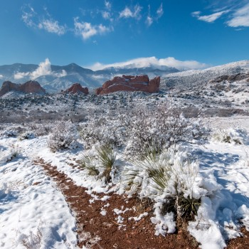 photo of a snowy Garden of the Gods and Pikes Peak