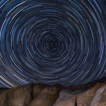 photo of star trails over the Paint Mines