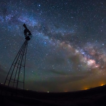 photo of the Milky Way and a windmill