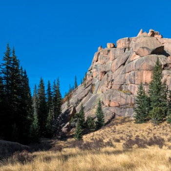 panoramic photo of the Crags Trail in Divide, Colorado