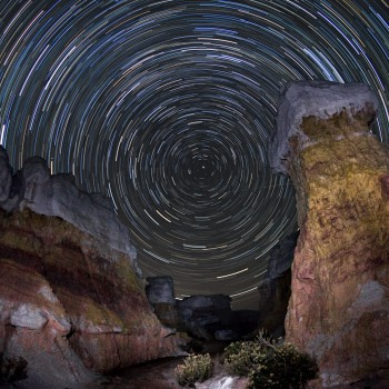 photo of star trails from the Paint Mines