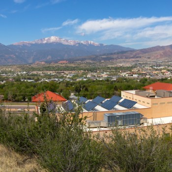 photo of the Colorado Springs Front Range from the Tava Trail on the UCCS Campus