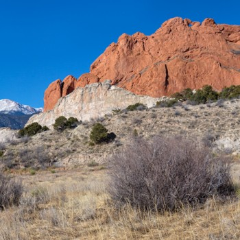 panoramic photo of Garden of the Gods and Pikes Peak