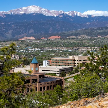 photo of Pikes Peak Looming Over the UCCS Campus and Colorado Springs